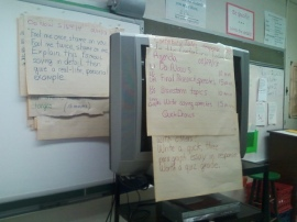 With no Promethean board, we're kickin' it old school in Mr. Lucker's class; flip charts, TVs.